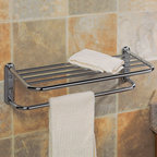 Towel Bar with Shelf - This stylish towel bar with shelf is made of solid forged brass and will add convenient space to your bathroom. Comes in your choice of finish.