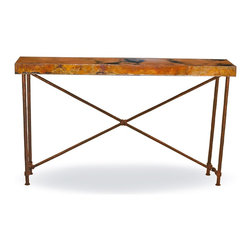 Mathews & Company - Burlington Console Table Base Only - This contemporary Burlington Console Table Base Only allows you to use your own table top such as granite, custom wood, stone, or glass. Pictured in Aged Bronze finish.