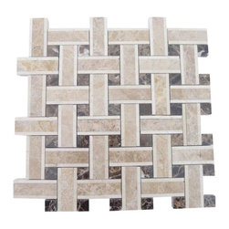 "GlassTileStore - Twine Woodland Blend Marble Tile - Twine Woodland Blend Marble Tile             This marble mosaic will provide endless design possibilities from contemporary to classic. It creates a great focal point to suit a variety of settings.         Chip Size: 2 7/8""x3/4"" Dot: 3/4""x3/4""   Color: Beige and Brown    Material: Crema Marfil, Light and Dark Emperidor   Finish: Polished   Sold by the Sheet- each sheet measures 13""x13"" (1.17 sq.ft.)   Thickness: 10 mm            - Glass Tile -"