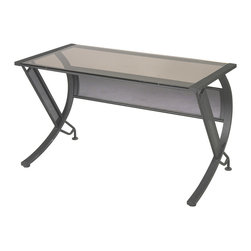 Office Star - Office Star Horizon Computer Desk - The horizon desk will be the center piece of any decor. This desk features a 8mm bronze tempered glass top and a slide out keyboard tray with storage compartment. Privacy panels and floor levelers aid in stability. A steel frame with black crinkle powder coat finish completes this design.