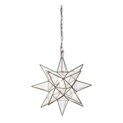 "Worlds Away - Worlds Away Clear Glass Star Chandelier-Available in Three Different Sizes, Larg - This charming chandelier features a Moravian star pendant with clear glass. The chandelier is available in three different sizes.  Each size has a single socket for a 60 watt max bulb and comes with 3 feet of antique brass chain and canopy. The Small measures 12"" in diameter, the Large is 15"" in diameter and the Extra-Large is 20"" in diameter."