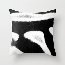 Products for the Modern Home - My original zebra stripes black and white fine art photograph on a throw pillow cover. This photograph is a close up photograph of zebra fur. With this pillow you can have the trendy look of fur without any harm to the animal.