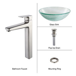 Kraus - Kraus C-GV-500-12mm-15500BN Broken Glass Vessel Sink and Virtus Faucet, Brushed - Add a touch of elegance to your bathroom with a glass sink combo from Kraus