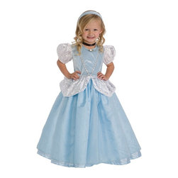 Little Adventures - Little Adventures Deluxe Cinderella Costume with Optional Slip Multicolor - LITL - Shop for Children Costumes from Hayneedle.com! Now all she needs is that pumpkin stagecoach - your little girl is going to love playing dress up with the Little Adventures Deluxe Cinderella Costume with Optional Slip. The sky blue crushed velvet bodice features silver trim a white rose accent and white sleeves. The skirt is made of china silk overlaid with sparkly organza and hip drapes with a silver swirl print. Complete the costume with the optional slip. She can pretend as long as she likes so long as she's home before midnight!Sizing Details:Small fits ages 1-3 yrs.Medium fits ages 3-5 yrs.Large fits ages 5-7 yrs.X-Large fits ages 7-9 yrs.About Little AdventuresWith humble beginnings Little Adventures was founded over 10 years ago by Jennifer Harrison (mom of 10) and Heather Granata (mother of 3) who began sewing and selling dress-up clothing at local craft fairs. Little Adventures then evolved into a successful business that aims to bring imagination and joy to children the world over. Their products are crafted of no-itch fabrics that are durable machine washable and the best in quality. And the critics agree - Little Adventures products have earned accolades from Creative Child Magazine Fat Brain Toy Awards The Toy Man and more.