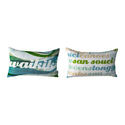 Kaypee Soh - Waikiki Lumbar Pillow - The quintessential Hawaiian experience, Waikiki is filled with sun, surf and sand. A vibrant, iconic stretch of awesomeness!