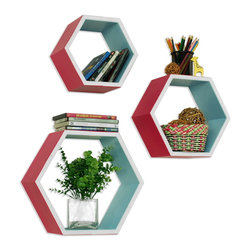 Blancho Bedding - Dextrad StyleHexagon Leather Wall Shelf / Bookshelf / Floating Shelf Set of 3 - These beautifully Hexagonal Shaped Wall Shelves display the art of woodworking and add a refreshing element to your home. Versatile in design, these leather wall shelves come in various colors and patterns. These elegant pieces of wall decor can be used for various purposes. It is ideal for displaying keepsakes, books, CDs, photo frames and so much more. Install as shown or you may separate the shelves to create a layout that suits your taste and your style. They spice up your home's decor, and create a multifunctional storage unit for all around your home. Each box serves as a practical shelf, as well as a great wall decoration.
