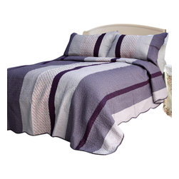 Blancho Bedding - [Purple Charm] 100% Cotton 3PC Vermicelli-Quilted Patchwork Quilt Set Full/Queen - Set includes a quilt and two quilted shams (one in twin set). Shell and fill are 100% cotton. For convenience, all bedding components are machine washable on cold in the gentle cycle and can be dried on low heat and will last you years. Intricate vermicelli quilting provides a rich surface texture. This vermicelli-quilted quilt set will refresh your bedroom decor instantly, create a cozy and inviting atmosphere and is sure to transform the look of your bedroom or guest room.