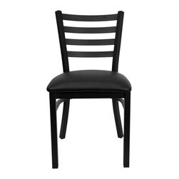 """Flash Furniture - HERCULES Series Black Ladder Back Metal Restaurant Chair - Black Vinyl Seat - Provide your customers with the ultimate dining experience by offering great food, service and attractive furnishings. This heavy duty commercial metal chair is ideal for Restaurants, Hotels, Bars, Lounges, and in the Home. Whether you are setting up a new facility or in need of a upgrade this attractive chair will complement any environment. This metal chair is lightweight and will make it easy to move around. For added comfort this chair is comfortably padded in vinyl upholstery. This easy to clean chair will complement any environment to fill the void in your decor.; Heavy Duty Metal Restaurant Chair; Ladder Style Back; Black Vinyl Upholstered Seat; 2.5"""" Thick 1.4 Density Foam Padded Seat; 18 Gauge Steel Frame; Welded Joint Assembly; Curved Support Bar; Black Powder Coated Frame Finish; Plastic Floor Glides; Designed for Commercial Use; Suitable for Home Use; Assembly Required: Yes; Country of Origin: China; Warranty: 2 Years; Weight: 24 lbs.; Dimensions: 32.25""""H x 16.5""""W x 17""""D"""