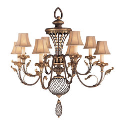Fine Art Lamps - Villa 1919 Chandelier, 156140ST - Like something from a turn-of-the-century villa, this wrought iron chandelier exudes grandness and warmth. Swooping candelabra arms accented with gilded leaves are topped with creamy silk shantung shades, while the ornate ironwork body looks aged to perfection in its rich brown amber patina. This gracious statement piece would be perfect in an entryway or dining area.