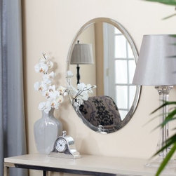 Frameless Oval Beveled Vanity Mirror - 22W x 28H in. - The Frameless Oval Mirror is easy to add into any design scheme and comes in two sizes. Since there is no frame this mirror makes it easy to match colors in your bathroom living room or anywhere in between. The Oval has a lovely 1-inch beveled edge to finish off the piece.