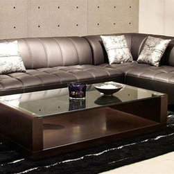 Refined All Real Leather Sectional - Features:
