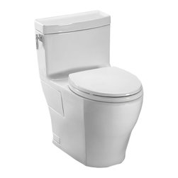 Toto - Toto MS626214CEFG#01 White Aimes One-Piece High-Efficiency Toilet, 1.28GPF - The refined style and greek look of the Aimes collection is sure to bring elegance and beauty to any bath.