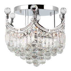 Worldwide Lighting - Empire 6 light Chrome Finish with Clear Crystal Ceiling Light - This stunning 6-light ceiling light only uses the best quality material and workmanship ensuring a beautiful heirloom quality piece. Featuring a radiant chrome finish and finely cut premium grade crystals with a lead content of 30%, this elegant ceiling light will give any room sparkle and glamour. Worldwide Lighting Corporation is a premier designer manufacturer and direct importer of fine quality chandeliers, surface mounts, and sconces for your home at a reasonable price. You will find unmatched quality and artistry in every luminaire we manufacture.