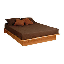 Prepac - Prepac Oak Platform Bed - Queen - Keep your bedroom decor simple and serene with the full or queen platform bed. With its sleek design, this bed not only eliminates the need for a box spring, but looks good with any decor! the platform is finished on three sides with a 2 inch wide molding that keeps your full-sized mattress snugly in place.