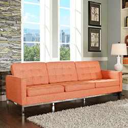 Florence Style Orange Wool Loft Sofa - The Loft Sofa offers a stunning and luxurious look that will instantly enhance any space. This mid-20th century modern leather sofa is inspired by the designs of Florence Knoll 1954 lounge collection, and has a recognizable mid-century modern style.The simple style of the Loft Sofa in wool upholstery makes for a clean, sharp look. Tufted accents create a beautiful pattern, and the couch's low profile makes the loft sofa an ideal item small space. Features a polished stainless steel frame, and high quality wool upholstery. This item is a high quality reproduction of the original. The Loft modern sofa is the preferred choice for reception areas, living rooms, hotels, resorts, restaurants and other lounge spaces.