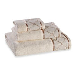 """Sam Hedaya Corporation - Wellington Bath Towel - Simple elegance makes its mark with the Wellington Collection. It features a soft luxurious design with a shimmery embroidery detail against a beige background. Hand Towel measures 52"""" x 72""""."""