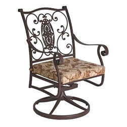 O.W. Lee San Cristobal Wrought Iron Swivel Rocker Dining Chair - You'll love the beautifully and intricately designed O.W. Lee San Cristobal Swivel Rocker Dining Chair. Made to embody the romance and intricate detailing of Spanish Baroque, this dining chair is handcrafted from wrought iron, and adds an antique elegance to your patio or deck. A beautiful addition to any outdoor dining set, you'll have fun inviting your friends over for dinner, drinks, games, or even Sunday brunch. Keep extras around the patio as extra seating for your guests. The swivel design makes getting in and out of these chairs simple while the rocker design lets you sit back and relax after a large meal or long day. The chairs also come with your choice of Sunbrella cushion so you can complement your existing decor while keeping your own unique style. Sunbrella cushions are fade-, stain-, mildew-, and water-resistant, easy to clean with mild soap and water, and include a five year warranty against fading. This dining chair is also great for spending time outdoors with a good book, watching your kids play, getting some work done outside of the office, or enjoying your first cup of coffee before the start of the day.Materials and construction:Only the highest quality materials are used in the production of O.W. Lee Company's furniture. Carbon steel, galvanized steel, and 6061 alloy aluminum is meticulously chosen for superior strength as well as rust and corrosion resistance. All materials are individually measured and precision cut to ensure a smooth, and accurate fit. Steel and aluminum pieces are bent into perfect shapes, then hand-forged with a hammer and anvil, a process unchanged since blacksmiths in the middle ages.For the optimum strength of each piece, a full-circumference weld is applied wherever metal components intersect. This type of weld works to eliminate the possibility of moisture making its way into tube interiors or in a crevasse. The full-circumference weld guards against rus