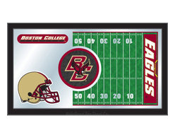 """Holland Bar Stool - Holland Bar Stool Boston College Football Mirror - Boston College Football Mirror belongs to College Collection by Holland Bar Stool The perfect way to show your school pride, our Football Mirror displays your school's symbols with a style that fits any setting.  With it's simple but elegant design, colors burst through the 1/8"""" thick glass and are highlighted by the mirrored accents.  Framed with a black, 1 1/4 wrapped wood frame with saw tooth hangers, this 15""""(H) x 26""""(W) mirror is ideal for your office, garage, or any room of the house.  Whether purchasing as a gift for a recent grad, sports superfan, or for yourself, you can take satisfaction knowing you're buying a mirror that is proudly Made in the USA by Holland Bar Stool Company, Holland, MI.   Mirror (1)"""