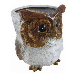 Decorative Ceramic Brown and White Owl Planter 9.5 In. - This adorable owl planter adds a wonderful accent to your home, porch, patio, or garden. Made of ceramic, it measures 9 1/2 inches tall and approximately 7 1/2 inches in diameter. The owl is painted in shades of brown and white, and has a glossy finish. This piece looks great on shelves, tables, and plant stands. Fill it with silk plants for indoor use, or with live plants for outdoor use. It makes a great housewarming gift, and is sure to be admired.