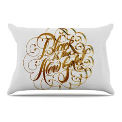 """Kess InHouse - Roberlan """"Black is the New Gold"""" Metallic Typography Pillow Case, Standard (30"""" - This pillowcase, is just as bunny soft as the Kess InHouse duvet. It's made of microfiber velvety fleece. This machine washable fleece pillow case is the perfect accent to any duvet. Be your Bed's Curator."""
