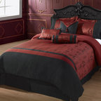 "Oyuki Down Alternative Comforter Set - Travel to Asia from the comfort of your bed with this beautiful burgundy with black Chinese letters 7 pieces comforter. The Oyuki Comforter Set features Black Asia Writing with a burgundy background . The Chinese Writing translates to ""Wish Happiness, Good Luck and Good Life""."