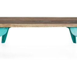 Tegal Coffee Table - I love this hand-painted coffee table from Urban Home. Its reclaimed wood top along with turquoise legs make it rustic yet chic and perfect for year-round use.