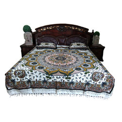 Mogul Interior - Cotton Bedding Indian Inspired Bedcover,  Green and White Printed - Handloom Cotton