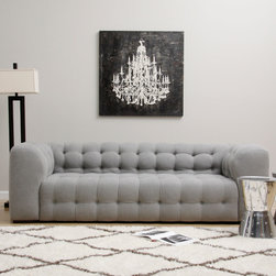 None - Sackville Nova Steel Linen Sofa - This contemporary Chesterfield-style sofa is covered in a steel-colored linen fabric with a plush boxy design on the surface. Underneath the fabric,polyurethane foam,duck feathers and polyester fiber provide a comfortable softness.