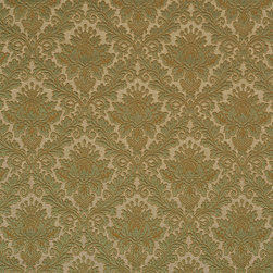 Green Elegant Floral Woven Matelasse Upholstery Grade Fabric By The Yard - This material is great for indoor upholstery applications. This Matelasse is rated heavy duty, and is upholstery weight. It is woven for enhanced appearance.