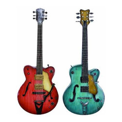 UMA - Hot Licks Guitars Wall Art - A pair of realistically detailed guitars, one in screaming red and one in teal, will bring rockin' attitude to your wall space