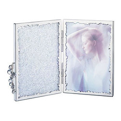 Swarovski - Swarovski Crystalline Picture Frame - Swarovski Crystalline Picture Frame  -  Size: 4 5/16 x 6 1/8  -  Fine Silver Crystal  -  Made In Austria  -  Hinged picture frame for two standard size photos. Left cover filled with clear crystal chatons. Tassel accent with clear crystal beads.