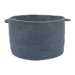 """Colonial Mills, Inc. - Allure, Polo Blue Utility Basket, 18""""X12"""" - Braided wool in a deep, gray-blue shade gives this storage basket a soft, natural look, perfect for storing linens or laundry. Luckily, it's woven strong too, so you can easily hoof those wet towels from the pool to the laundry room. Once you see how pretty and handy this basket is, you'll come up with a hundred uses for it around the house."""