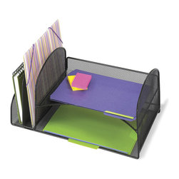 Safco - Safco Onyx Black Mesh Desk Organizer with 2 Horizontal and 2 Upright Sections - Safco - Desktop Organizers - 3264BL - This office desk organizer features 2 upright sections and 2 Horizontal letter sized shelves. Bottom letter shelf also can store model 3262BL as an accessory option (sold separately).