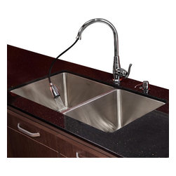 Kraus - Kraus 33 in. Undermount Double Bowl Kitchen Sink with Faucet and Soap Dispenser - Add an elegant touch to your kitchen with unique Kraus kitchen combo.