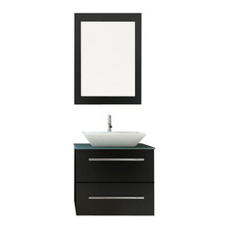 "JWH Imports - 24"" Carina Small Vessel Sink Wall Mounted Modern Bathroom Vanity with Glass Top - Get a grip on your bathroom decor and with this modern and unique vessel sink and vanity. Instantly your water closet clutter will feel tidy with the compact and sturdy all-in-one — easy to clean vanity and sink console. The microlite stone countertop, wide ceramic basin and oak wood materials are extra stylish and durable."