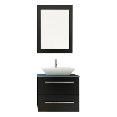 """JWH Imports - 24"""" Carina Small Vessel Sink Wall Mounted Modern Bathroom Vanity with Glass Top - Get a grip on your bathroom decor and with this modern and unique vessel sink and vanity. Instantly your water closet clutter will feel tidy with the compact and sturdy all-in-one — easy to clean vanity and sink console. The microlite stone countertop, wide ceramic basin and oak wood materials are extra stylish and durable."""