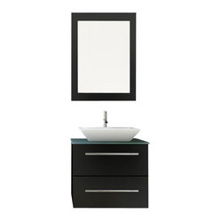 Carina Small Vessel Sink Wall Mounted Modern Bathroom Vanity with Glass Top