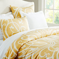 Cailin Scroll Duvet Cover & Sham - Use this duvet's scroll design and great yellow color to dress your bed.