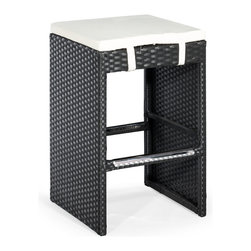 ZUO VIVA - Marrakesh Single Bench Counter Height Espresso - The Marrakesh Counter Stool has a epoxy coated steel frame with a synthetic weave wrap with polyblend seat cushions.