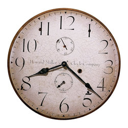 Howard Miller - Howard Miller Original Howard Miller III Wall Clock - Howard Miller - Wall Clocks - 620314 - This antique traditional wall clock hearkens back to the early 20th century and is perfect for adding an old world charm to home or office. Distinguished by its antique dial with large numerals, spade hands and additional seconds and hour dials, the Howard Miller III is a reproduction of the first timepiece Miller produced upon his return to America. Battery-operated quartz movement ensures consistent timekeeping and cements the appeal of the Howard Miller III Wall Clock.