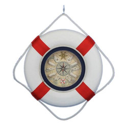 "Nautical Decor - Classic White Decorative Life Ring Clock with Red Bands - A decorative plethora of functionality and grace, the Lifering clock is classy and functional all while creating the perfect nautical mood in your home, office, or pool house. A Nautical star is displayed in the middle of the clock with roman numeric characters at the end of each star point for an elegant touch. Sailors knots mark individual hours, and the real map background supplies a strong feel of being on a real ship. The handpainted decorative lifering is a beautiful Red and cream off-white providing a slight patina as a real lifering would have after years at sea. Dimensions: 18"" Long x 2"" Wide x 18"" High"