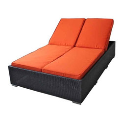 Modway - Evinve Two-Seater Outdoor Chaise Recliner In Espresso With Orange Cushi - All Weather Synthetic Rattan Weave