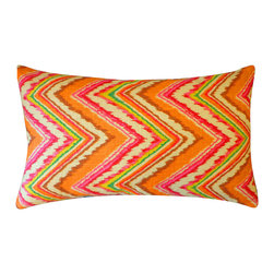 Jiti - Iceberg Pink Orange Pillow - Jazz up your home decor with our Iceberg Pink Orange Pillow!  Made from 100% Cotton. Invisible Zipper. DRY CLEAN ONLY. Insert is made of 95% feathers and 5% down.