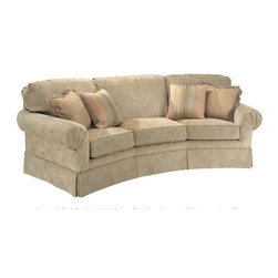 Fairfield Chair Company - Corner Sofa w Semi-Attached Back (Fabric: Amb - Fabric: Fabric: AmberElegant and sophisticated, this fabulous corner sofa is perfect for your formal living room.  Angled-front sofa features thick plush semi-attached back cushions with loose seats and stylish dressmaker skirt.  Customize your sofa by selecting from available options. Loose seat. Made from hardwood and fabric. Seat Height: 21.5 in.. Arm Height: 25.5 in.. Seat Depth: 21 in.. Inside Width: 74 in.. Overall: 98 in. L x 47 in. W x 36 in. H
