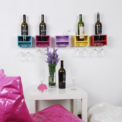 Wine Racks and Glass Holders - Westwood wine rack designed for one bottle and two glasses.