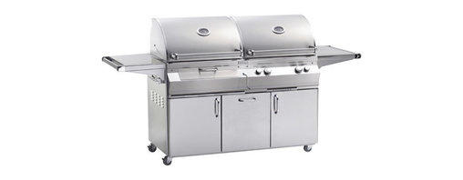 Fire Magic - Aurora A830s2A1N61CB Stand Alone NG Gas & Charcoal Combo Grill - A830 Stand Alone Grill with Rotisserie Backburner & Infrared Burner System A830s Features: Charcoal ignited by additional 26K Btu gas burner