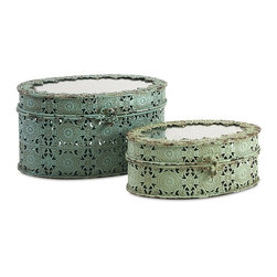 IMAX - Grant Metal Boxes - Set of 2 - Lacey and lovely, a pair of delicate, openwork metal boxes with mirrored tops in pale shades of green bring needed storage to the boudoir and beyond.