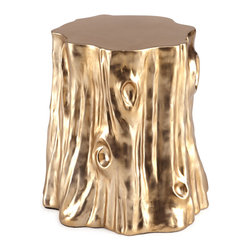 """Arteriors - Arteriors Golden """"Cut Stump"""" Table - If this isn't a perfect combination of rustic and modern, I don't know what is. The gold finish on this trunk side table would be a perfect addition to any rustic-modern room."""