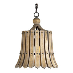 Currey and Company - Fruitier Pendant - With a look that was popular in home furnishings in the '50's, the Fruitier Pendant has the warmth of wood materials honestly and simply used. Natural ash is the wood and it has a wrought iron framework which is finished in Old Iron.