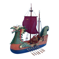 """Handcrafted Model Ships - Dawn Treader 16"""" - Wood Boat Model - Not a model ship kit... Attach sails and the Dawn Treader model ship is Ready for Immediate Display. Join Caspian, King of Narnia, and set sail for adventure aboard the fantastic Dawn Treader. Explore the high seas and lands of imagination in this exciting model ship inspired by the novel Voyage of the Dawn Treader, written by C.S. Lewis as part of his famous and beloved Chronicles of Narnia series. 16"""" Long x 10"""" Wide x 14"""" High"""